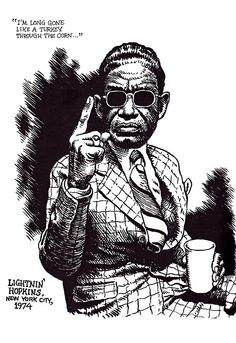 Lightnin' Hopkins, NYC, 1974 by Robert Crumb