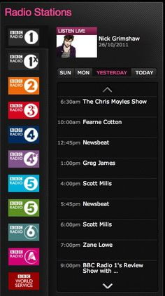 Tabbed vertical carousel  BBC iPlayer