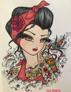 """""""Rockabilly"""" from Tattoo Darlings- Hannah Lynn   by: Lyz Ibarra Ohuhu colored pencils & Promarkers for skin"""