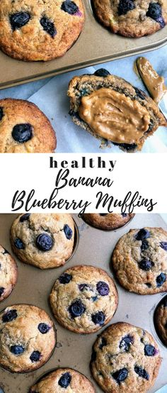 This is a simple but delicious recipe for healthy blueberry banana muffins made with whole wheat flour cinnamon and fresh blueberries. They are moist healthy fluffy and so easy to make! Blueberry Banana Muffins Healthy, Banana Bread Muffins, Healthy Banana Bread, Healthy Muffins, Blue Berry Muffins, Healthy Blueberry Recipes, Healthy Recipes, Detox Recipes, Healthy Desserts