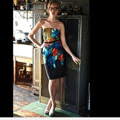 "Anthropologie / Splashed Palette Dress"" 12 P Anthropologie / Moulinette Soeurs ""Splashed Palette Dress"" in a gorgeous mix of mustard, black, blue & orange watercolor    Removable belt and comes with a set of thin straps incase you want the security of little strapà   Side zip                New Without Tags  *  Size:  Petite 12                  retail price:  $188.00            53% silk  *  47% cotton              lined in poly cotton             Dry clean                        Falls…"