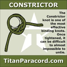 The Constrictor Knot is one of the most effective binding knots. Simple and secure, it is a harsh knot that can be difficult or impossible to untie once tightened.