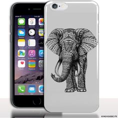 Coque rigide iPhone 6s Plus 5.5 pouces Elephant Azteque Noir Et Blanc. #Animal #iPhone6sPlus