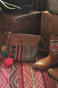 Boho chic brown leather crossbody bag. Shop all bohemian hippe, tribal style and festival fashion at www.gracedesign.ca