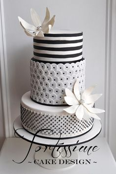 This is a pretty black and white cake with great textures that are Art Deco and modern all at once.