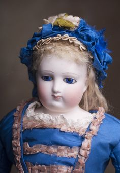 """16"""" (40 cm) Antique French Early Fashion Bisque Poupee doll with Cobalt Blue Eyes, Barrois, c.1860. Antique dolls at Respectfulbear.com"""