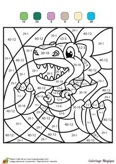 Home Decorating Style 2020 for Coloriage Magique Cp Soustraction, you can see Coloriage Magique Cp Soustraction and more pictures for Home Interior Designing 2020 9873 at SuperColoriage. Dinosaur Worksheets, Math Coloring Worksheets, Kids Math Worksheets, Preschool Activities, Color By Numbers, Math Addition, Homeschool Math, 2nd Grade Math, Math Facts