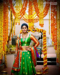The Super Extravagant Telugu Wedding Replete With Glitz & Glamour Telugu Wedding, Saree Wedding, Wedding Bride, Half Saree Lehenga, Bridal Lehenga, Sarees, Silk Lehenga, Half Saree Designs, Blouse Designs