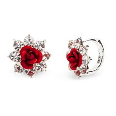 It doesn't get much sweeter than the Rosalyn earrings. These feminine beauties feature a center rose, encircled by seven sparkling CZ's. This simply delicate pair will look stunning dressed up or down. Further the sparkle and pair Rosalyn with a CZ statement necklace.  Find it on Splendor Designs