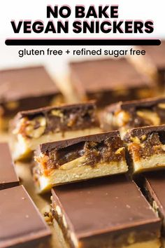 No Bake Vegan Snicker Bars Healthier homemade gluten free + vegan snickers bars – a soft, nut flour crust topped with a simple date + peanut caramel and finished off with a layer of chocolate. Just prep, set & enjoy! Vegan Gluten Free Desserts, Vegan Sweets, Healthy Dessert Recipes, Vegan Recipes, Gluten Free Protein Bars, Healthier Desserts, Free Recipes, Paleo, Keto