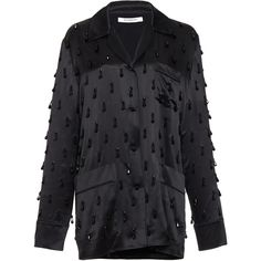 Givenchy Beaded Embroidered Silk Satin Top (11 322 865 LBP) ❤ liked on Polyvore featuring tops, givenchy top, embroidery top, givenchy shirt, embroidered button up shirts and beaded shirt