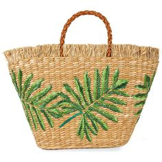 Aranaz Planta straw tote (4.470.585 VND) ❤ liked on Polyvore featuring bags, handbags, tote bags, straw tote, beige tote bag, fringe handbags, embroidered tote bags and tote purses