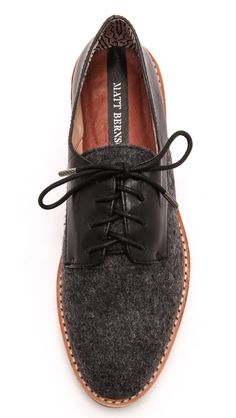liking the combination of textures on these brushed felt and leather Matt Bernson oxfords.