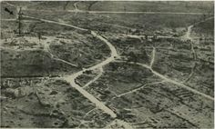 Montfaucon looking South; arrow indicates sketched-in-position of Meuse-Argonne American Memorial.