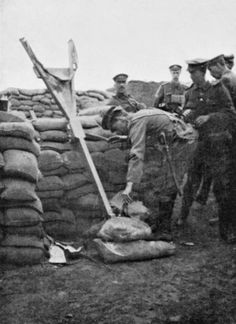 WW1 brought back in use methods and weapons dated as far back ancient times. Here, men of the Oxfordshire and Buckinghamshire Light Infantry (Ox and Bucks LI) using a trench catapult. The catapult was used to launch grenades at enemy trenches, with the distance separating the adversaries being below 100 meters.