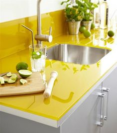 Bright Colors for Kitchen Countertops   A single slab of intense gold or citron yellow will bring a boost of energy and warmth to the whole room. Our recycled glass countertops come in bright blue and yellow, perfect for adding color to an otherwise dismal kitchen.