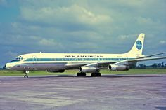 """[Pan American World Airways] (Pan Am), Douglas """"Clipper Great Republic,"""" served Pan Am sold to United Airlines] at Manchester, 21 Jul 1968 - wikimedia [photo by Ken Fielding] Aviation Fuel, Civil Aviation, Mcdonald Douglas, Douglas Dc 8, Douglas Aircraft, Boeing 707, Old Planes, International Airlines, Pan Am"""