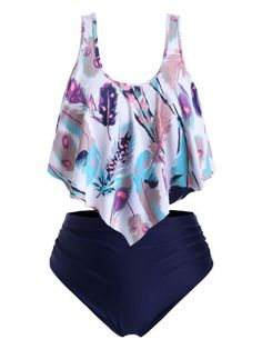 Ruched Strappy Feather Print Flounces Plus Size Tankini Swimsuit Modest Swimsuits Feather Flounces Print Ruched size Strappy swimsuit tankini Swimsuits For Big Bust, Swimsuits For Teens, Modest Swimsuits, Vintage Swimsuits, Swimsuits For Curves, Cute Swimsuits, Women Swimsuits, Plus Size Tankini, Plus Size Swimwear