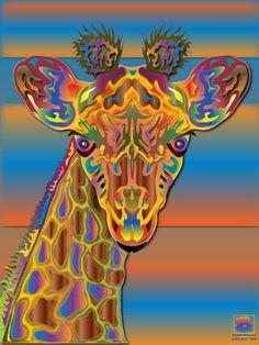 "Saatchi Art Artist Elliott Baskerville; New Media, ""Crayola Giraffe"" #art"