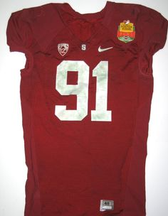 Henry Anderson Game Worn Stanford Cardinal Foster Farms Bowl Nike Jersey (Unwashed, Awesome Use with Hit Marks Throughout)