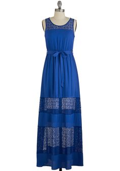 Marina Del Rey Dress - Blue, Solid, Lace, Belted, Casual, Maxi, Tank top (2 thick straps), Summer, Good, Scoop, Woven, Lace, Long