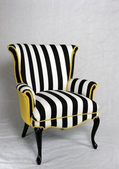 Projects Design Black And White Striped Chair Stripe With Yellow Velvet Vintage Wing Back - Chair Ideas Funky Furniture, Furniture Makeover, Furniture Design, Striped Furniture, Dining Chair Makeover, Poltrona Bergere, Striped Chair, Grey Chair, Mid Century Chair