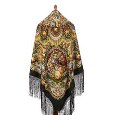 1437-1 Pure  Merino 100/% WOOL scarf Winter Warmth Authentic Pavlovo Posad Shawl