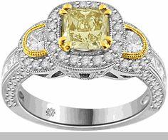 2.07 Carat EGL Certified Light Yellow Cushion Cut 18Kt Gold Engagement Ring