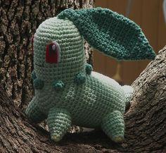 POR patronesamigurumis   CHIKORITA (POKEMON)     VER MAS POKEMONS   VER PATRÓN 15        lana verde claro  lana verde oscu...