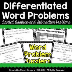 The books are differentiated by ability and difficulty level. The books all look the same except for the color of the title page lettering. This way all students are practicing addition and subtraction with word problems, but at their level. However, all books look similar so it is not as easily apparent to the students the difficulty level ...