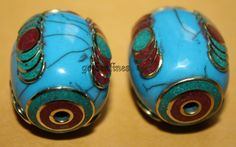 Turquoise beads (2 beads) Nepalese Beads Tibetan beads Tibet beads Boho beads Om beads bohemian beads country beads Nepal beads BDS933 by goldenlines on Etsy