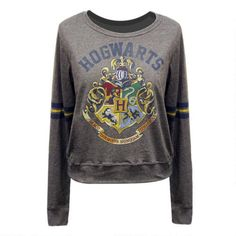 Hogwarts Crest Long Sleeve Tee with Stripes