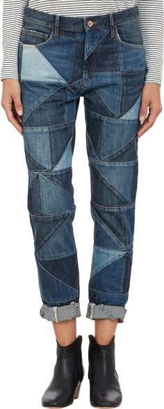 Isabel Marant Étoile Patchwork Dillon Jeans at Barneys.com