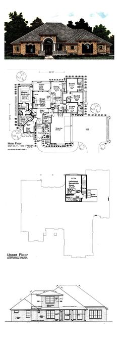 European House Plan 92295 |Total Living Area: 2621 sq. ft., 4 bedrooms & 3.5 bathrooms. #houseplan #europeanstyle