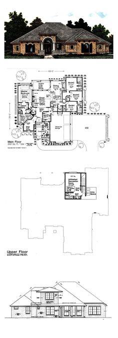 European House Plan 92295 |Total Living Area: 2621 sq. ft., 4 bedrooms & 3.5 bathrooms. #houseplan #europeanstyle