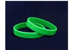 Green Ribbon Silicone Bracelets - Child Size - (SILBC-13)