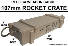 107mm Rocket Crate: Replica Weapon Cache Crate - © INERT PRODUCTS LLC - For Official Use Only Weapon Storage, Gun Storage, Wood Crates, Wood Boxes, Diy Wood Projects, Woodworking Projects, Boys Army Room, Survival Project, Rustic Living Room Furniture