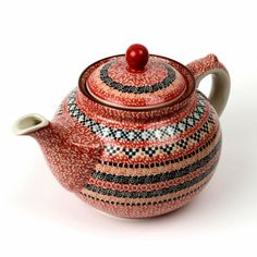 Polish Pottery & Stoneware - Tea Pot 1.2L -  I heard that this red decor was created for a large order in Dubai