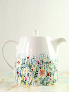 sweet hand-painted floral teapot