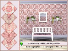 6 fractal floral wall patterns based on a single motif. Found in Wallpaper. 3 wall heights in the file. Price : Found in TSR Category 'Sims 4 Walls' Sims 4 Tsr, Sims 4 Build, Sims Community, Electronic Art, Wall Patterns, Floral Wall, Color Card, Basic Colors, Fractals