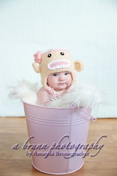 Crochet Baby Girl Sock Monkey Hat Newborn 0-3 and 3-6 Months Photography. $19.99, via Etsy.