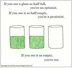 Looking at a glass can tell you if you're an optimist or a pessimist. See more humor and funny cartoons at A Bit Sketch. Funny Cartoons, Perception, Told You So, Sketch, Humor, Comics, Glass, Sketch Drawing, Drinkware