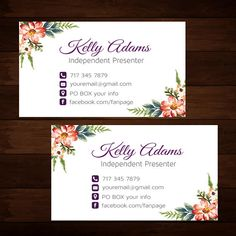 Floral Younique Business Cards Elegant Personalized