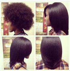 No relaxer. Natural hair straighten.