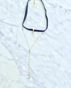 Super Thin Velvet Choker (moonstone) & Reflection Pools Lariat by Long Lost Jewelry #longloststudio