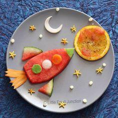 Watermelon rocket ship, egg moon, and orange slice sun