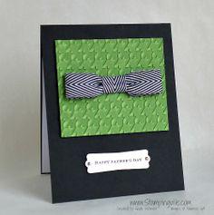 Father's Day Bow Tie Card  -  Chevron Ribbon, Herringbone TIEF, Teeny Tiny Wishes stamp set