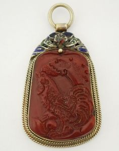 Antique Chinese Mixed Metals Carved Carnelian Enamel Rooster Pendant