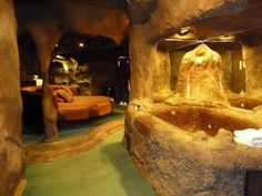 Channel your inner Flintstone in the Cave Room at the Don Q Inn -- in Dodgeville Wisconsin of all places!
