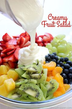 Creamy Fruit Salad - loaded with tons of fresh fruits and a creamy vanilla yogurt dressing. It is so simple to throw together and perfect for a side dish or dessert. You will find it to be a hit at your next picnic or BBQ! This Easy Garlic and Herb Pull-A Creamy Fruit Salads, Fruit Salad With Yogurt, Dressing For Fruit Salad, Best Fruit Salad, Summer Salads With Fruit, Fruit Salad Recipes, Fruit Salad Dressings, Hawaiian Fruit Salad, Cheesecake Fruit Salad